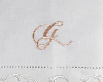 Monogrammed Linen Hemstitched Guest Towels (set of 2)