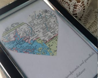 Custom two vintage map half hearts framed art with custom quote