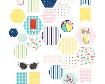 Printable RETRO BEACH themed Hexies Flags stickers!-Digital File Instant Download- bando, happy planner, hand drawn, hexagons, ocean