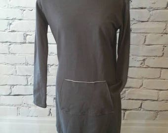Gray Hooded Sweatshirt Dress
