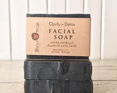 Clarify + Detox Facial Soap - Activated Charcoal with Lavender and Tea Tree - Acne Prone Skin