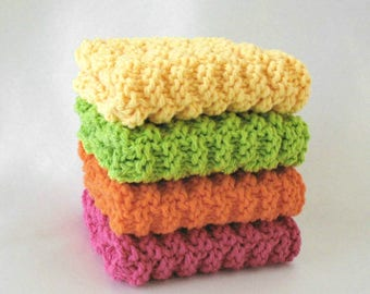 Knit Dishcloths Cotton Washcloths Knitted Dishcloths Bright Colors