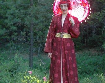 Silk Kimono / Boho Kimono / Kimono Jacket / Maxi / Long / Gypsy Chic / Kimono Jacket For Women / Gumps San Francisco / Made In India