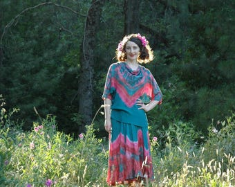 Modest / Boho / Gypsy Boho / Hippie / Loose /Gypsy Clothing Style / Boho Two Piece Set / Tie Dye