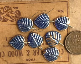 Wired Glass Leaf Charms, AB Drops Dangles, Czech Leaves, Vintage pressed glass, aurora borealis blue, glass leaves, Boho Charms #1629A