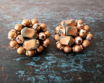 Vintage Gold Beaded Clip On Earrings Made in Japan