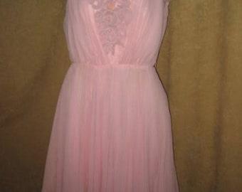 60s Chiffon Dress Full Skirt Petite Pink Vintage