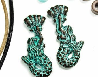Greek Mykonos green patina mermaid with seashell charm bail, Nautical Jewerly making, Mermaid Verdigris Pendant 30mm - 1pc