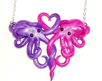 Intertwined Octopi in love Necklace,  purple and magenta valentines day gift, anniversary, christmas, birthday,