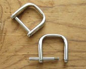 "Nickel Plated D Rings 3/4"" Screw In Replacement Purse Strap or Knife Dangler Hardware - Set of 2"