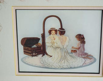 Vintage Victorian Girls Picture Grandma's Attic Pink Rose Hand Painted Mat Wood Frame Trunk Mirror Playing Dress Up Wedding Dress Jewelry