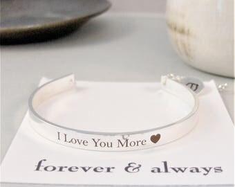 I Love You More,Bracelet,Cuff Bracelet,Personalized,Personalized Bracelet,Cuff,Love You,Love,Silver Bracelet,Cuff Bracelet,WeddingBracelet