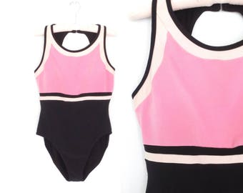 80s Swimsuit * Vintage 1980s Maillot * Color Block Tank Suit * XL