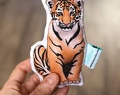 Christmas Gift Idea - Tiger Organic Baby Rattle - Organic Cotton Baby Toy - Stocking Stuffer - Gift for Baby Boy, Baby Girl - Zoo Animal
