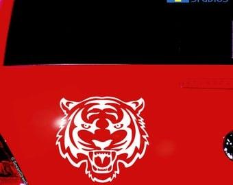 "Tiger Decal / Tiger Window Sticker / Tiger Laptop Decal / Tiger Car Sticker / Tiger Auto Sticker / Tiger Sticker / 5.75""h x 6.25""w /#591"