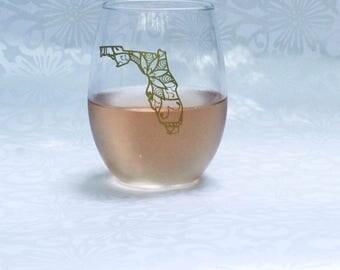 Florida Wine Glass - Florida Stemless Glass - State Pride Gift - Mandala Gift - Florida - Wine Gifts- State Glass - State Cups