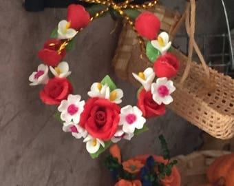Miniature Wreath, Roses Door Wreath, Dollhouse Miniature, 1:12 Scale, Dollhouse Decor, Accessory, Miniature Flowers, Mini Wreath