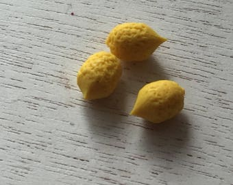 Miniature Lemons, 3 Pieces, Dollhouse Miniature Food, 1:12 Scale, Dollhouse Accessories, Decor, Mini Fruit, Pretend Food