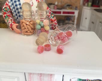 Miniature Jar Filled with Candy, Dollhouse Miniature, 1:12 Scale, Mini Food, Dollhouse Food, Accessory, Decor, Crafts
