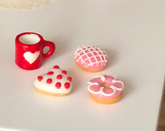Featured listing image: Miniature Donuts, Frosted Doughnuts, Set of 3, Style 1, Valentine Donuts, Dollhouse Miniatures, 1:12 Scale, Miniature Food