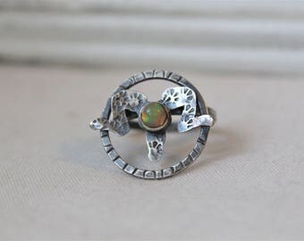 Ram - Oxidized Sterling Silver Ring with a 5 mm Mexican Opal - Jewelry 925 - Size 7.5
