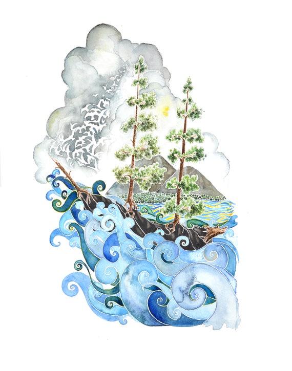 Bar Harbor - PRINT of original watercolor.  Maine, Ships, Ocean