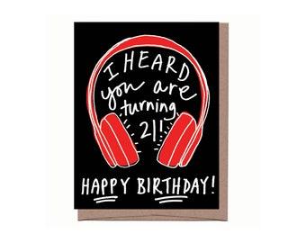 Wireless Headphones 21st Birthday Card