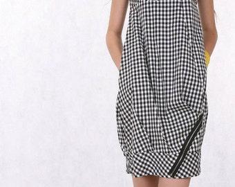 cotton plaid dress vest  dress  zipper dress