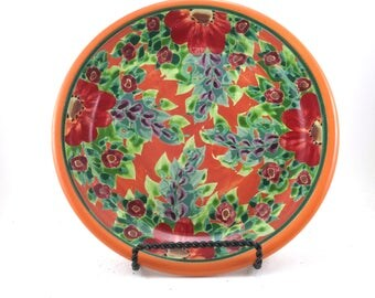 Orange Ceramic Plate - Handmade Floral Pottery Platter - Flower Design - OOAK Collectible - Classic Beauty and Style