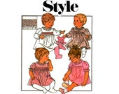 Style 4462 Retro 80s Smocked Baby Dress Vintage Sewing Pattern Size 1 UNCUT Factory Folded