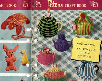 Patons C 8 Vintage 1960s Knitting & Crochet Book Tea Cozies Dolls Clothes Stuffed Toys Afghans ORIGINALS NOT PDF