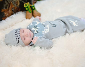 Lil Buck Baby Boy Coming Home Outfit, Personalized Baby Boy Outfit, Baby Deer outfit, Baby Gown , Baby Outfit Set, Baby Boy Set