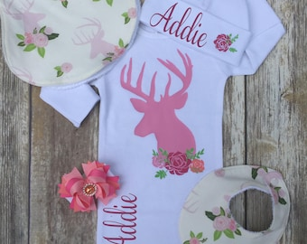 Personalized Pink Deer Baby Girl Outfit, Coming Home Outfit, Baby Gown or Bodysuit, Baby Hat, Outfit Set, Baby Girl Set, Baby Gift
