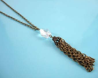 Everyday Boho Necklace - Festival Tassel Necklace - Boho Everyday Jewelry - Quartz Tassel Necklace - Quartz Tassel Jewelry - Tassel Boho