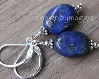 Lapis Lazuli Earrings Gemstone Stone Handmade Sterling Silver Leverback Dark Blue Oval Beads Small