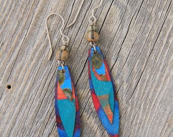 BIRDS OF A FEATHER / Wood Earrings / Women's Jewelry / Gifts For Her / Sustainable / Earrings / Acrylic Painting / Art / Art Jewelry