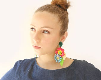 Big Chunky Statement Earring, Bold Colorful Flowers light weight earrings, Unique Women's Oversize Jewelry Etsy