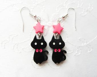 Black Cat Earrings / Cute Earrings / Kawaii Earrings / Animal Earrings / Kawaii / Cute