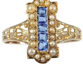 Blue paste stones pearl ring 18k rose gold antique Victorian jewelry