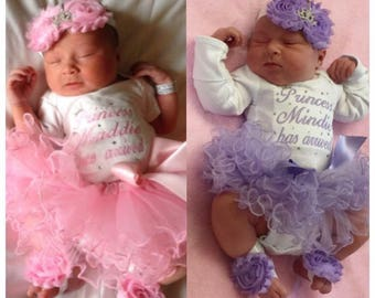 Baby girl coming home outfit, Baby girl clothes, baby girl, take home outfit, newborn girl, outfit, Princess has arrived, NAME, tutu, set