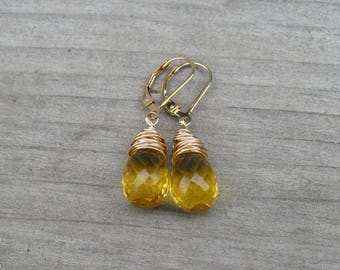 14K Gold Citrine Earrings,  Wire Wrapped,  November Birthstone, Golden Citrine Jewelry