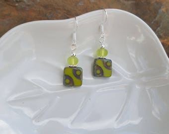 Lime Green Square Beads, Green Glass Square Sterling Silver Dangle Earrings, Green Square Sterling Silver Earrings, Green Glass Earrings