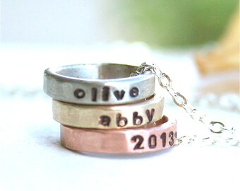 Personalized ring necklace, Custom mixed metal ring necklace, Stacking ring, Circle necklace, Three ring necklace, Silver, Gold, Rose gold