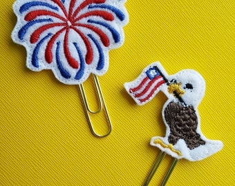 Patriotic Eagle with flag or red and blue firework planner paper clip