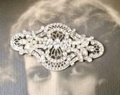 Antique Art Deco HaiR CoMB/Wedding Dress Sash Brooch, OOAK Paste Rhinestone Vintage Bridal Clip, 1920 1930 Edwardian Hairpiece Large Lacy