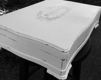 Vintage Silverware Box Storage White Shabby French Logo Red Lining