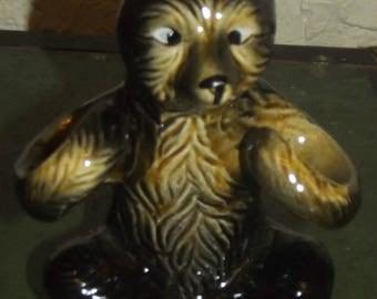 Vintage Ceramic Bear Salt and Pepper Shaker Holder Japan