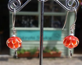 Bright Orange Dahlia Earrings. Sterling Silver 925. Handcrafted in England