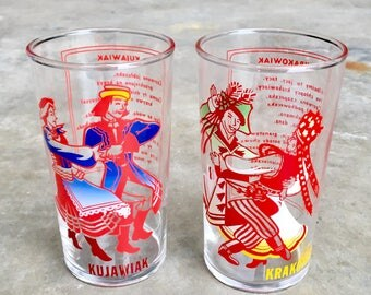 Vintage Pair of Polish Kujawiak Dance Glasses