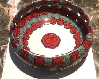 Valentine Bowl . Roses . Polymer Clay Cane